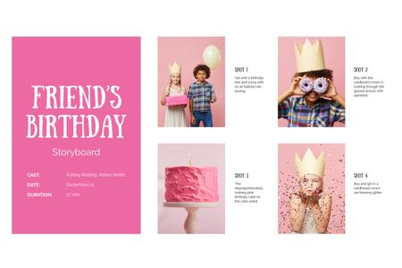 Friend's Birthday with Funny Children Storyboard Modelo de Design