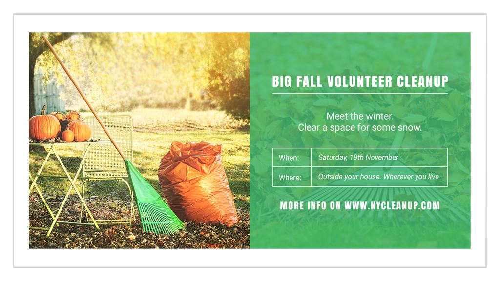 Volunteer Cleanup with Pumpkins in Autumn Garden — Crear un diseño