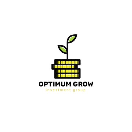 Investment Company Ad with Plant on Stack of Coins Logo Tasarım Şablonu