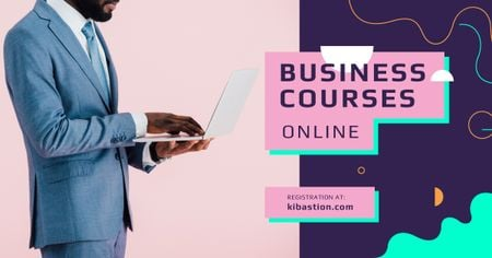 Business Courses Ad Man Working on Laptop Facebook AD Design Template