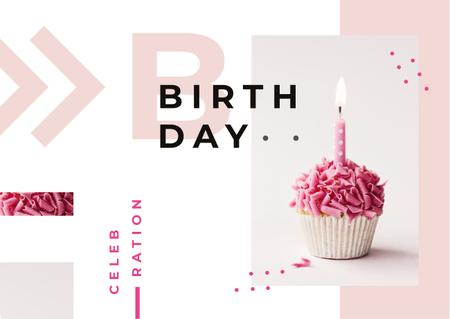 Modèle de visuel Birthday candle on cupcake - Card