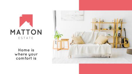 Plantilla de diseño de Real Estate Agency Ad with Modern Interior in White Presentation Wide