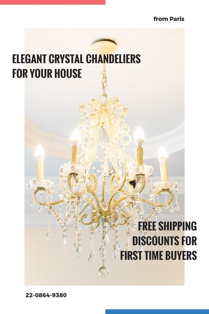 Elegant Crystal Chandelier Ad in White — ein Design erstellen