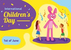 Children's Day Greeting with Kids Having Fun at Party