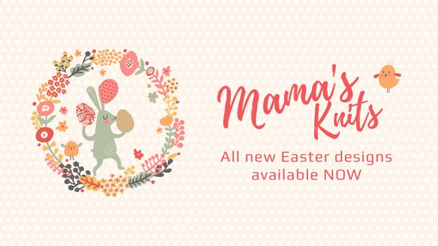 Ontwerpsjabloon van Full HD video van Easter Bunny with Colored Eggs in Flowers Frame