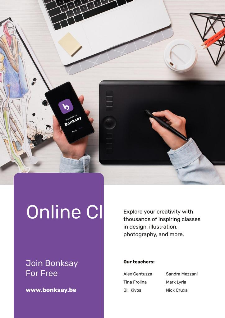 Online Art Classes Offer with laptop and drawings Posterデザインテンプレート