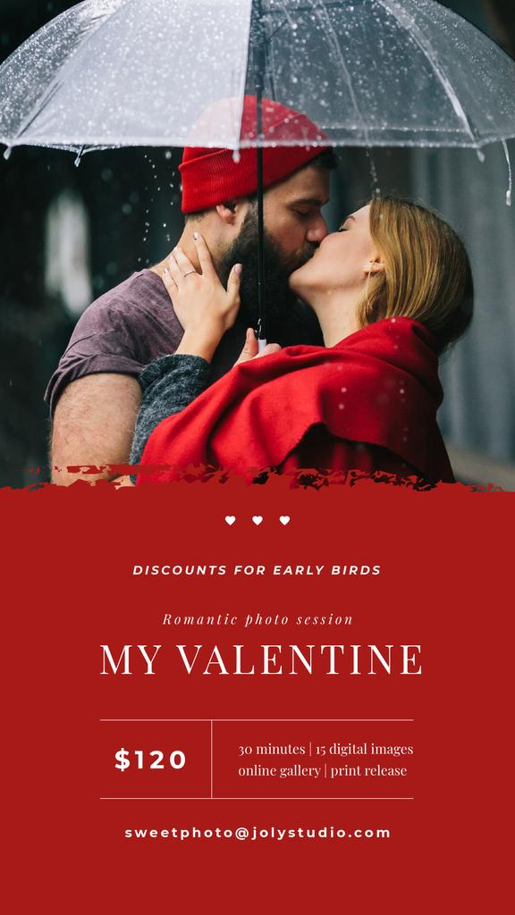 Lovers kissing under umbrella on Valentines Day — ein Design erstellen