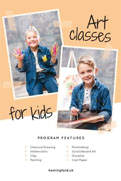 Art Classes Ad Child Painting by Easel