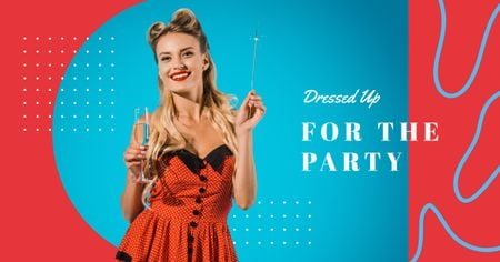 Modèle de visuel Woman in holiday red dress - Facebook AD