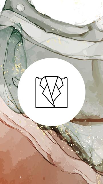 Modèle de visuel Fashion store icons on watercolor pattern - Instagram Highlight Cover