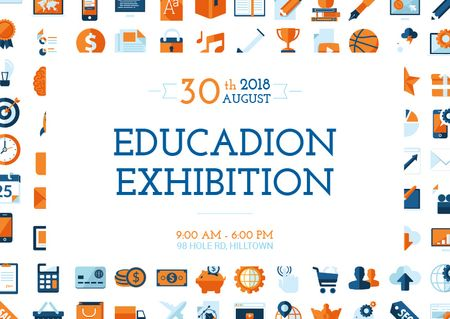 Education exhibition announcement Postcard Modelo de Design