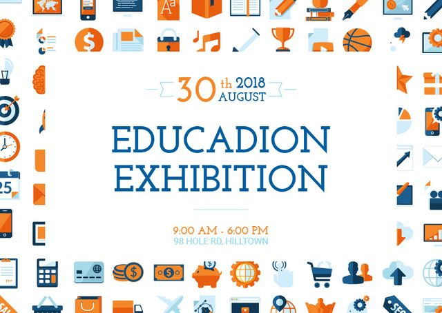 Education exhibition announcement Postcard – шаблон для дизайну