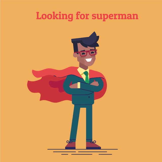 Modèle de visuel Recruitment Announcement with Businessman in Waving Red Cape - Animated Post