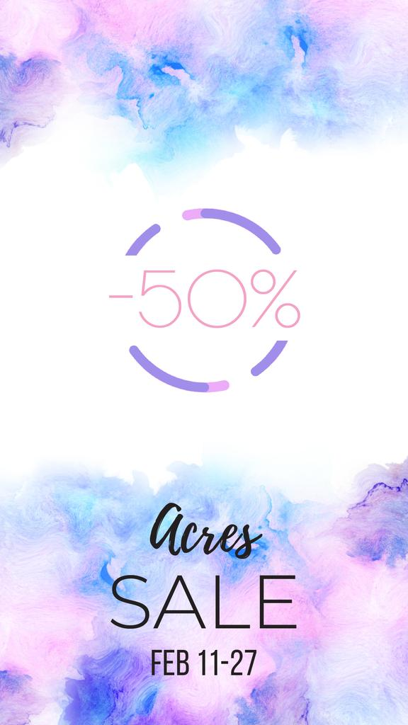 Sale Announcement Watercolor Circle Frame | Vertical Video Template — Створити дизайн