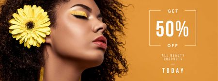 Plantilla de diseño de Beauty Products Ad with Woman with Yellow Makeup Facebook cover