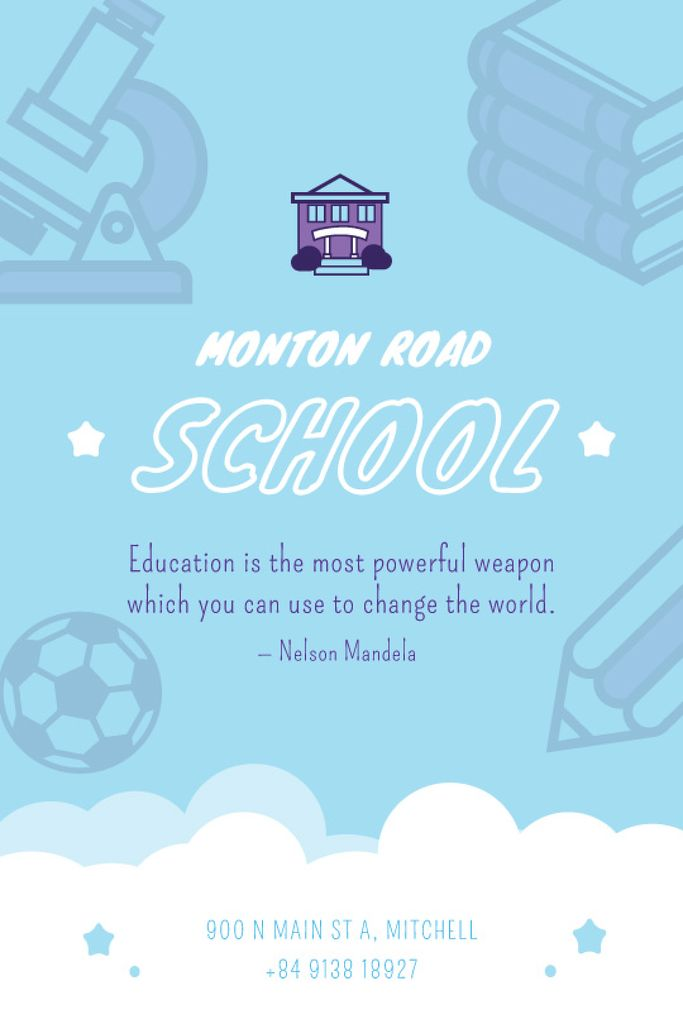 School Advertisement Studying Icons in Blue — Crea un design