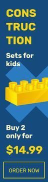 Kids Constructors Sale Brick in Yellow | Wide Skyscraper Template