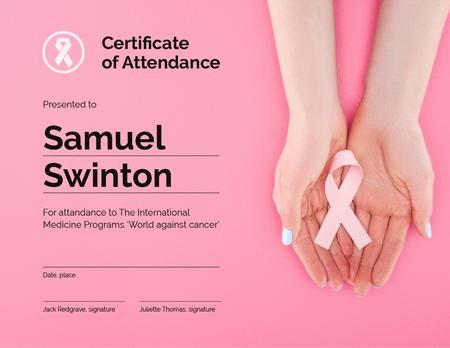 Szablon projektu Breast Cancer Awareness program Attendance gratitude Certificate