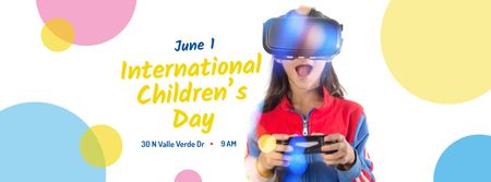 Plantilla de diseño de Girl playing vr game on Children's Day Facebook cover