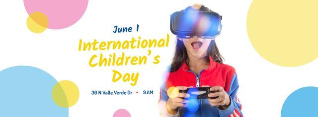 Plantilla de diseño de Girl playing vr game on Children's Day Facebook cover