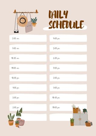 Daily schedule with Cozy interior Schedule Planner Tasarım Şablonu