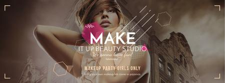 Makeup party for girls Facebook cover Design Template