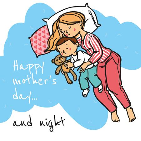 Sleepy mother with her son on Mother's Day Instagram Modelo de Design