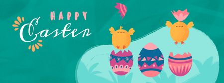 Ontwerpsjabloon van Facebook Video cover van Chicks hatching from eggs on Easter