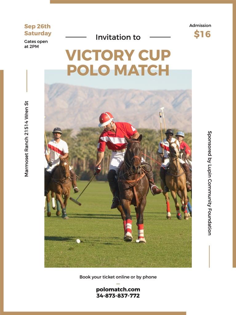 Polo match invitation with Players on Horses — Создать дизайн