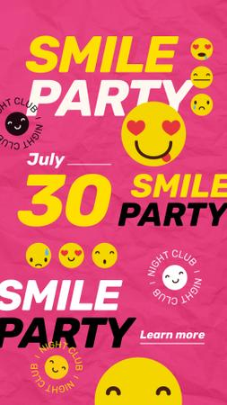 Party Invitation with Emoji on Pink Instagram Story Modelo de Design