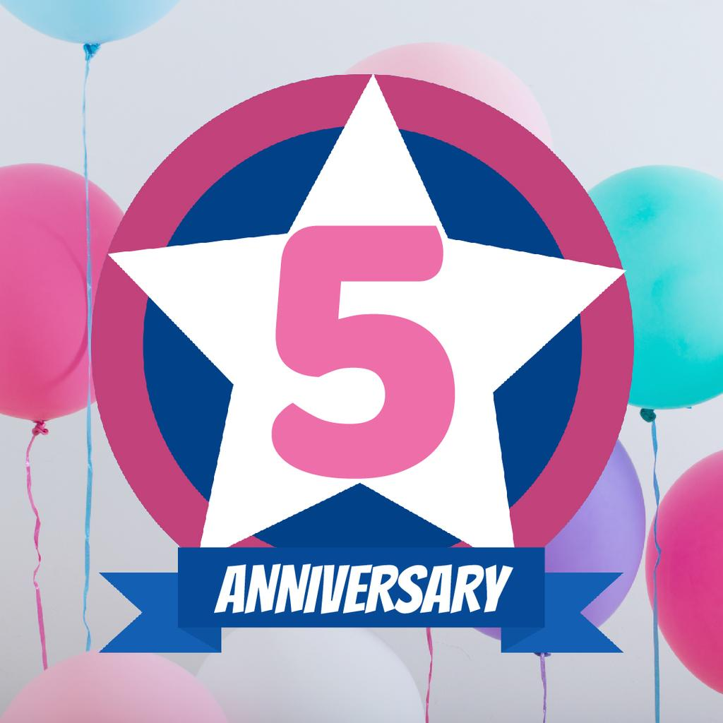 Anniversary celebration template with balloons — Créer un visuel