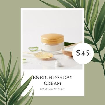 Cosmetic Cream Offer with green Leaves