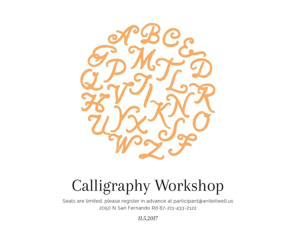 Calligraphy Workshop Announcement Letters on White Large Rectangle – шаблон для дизайну