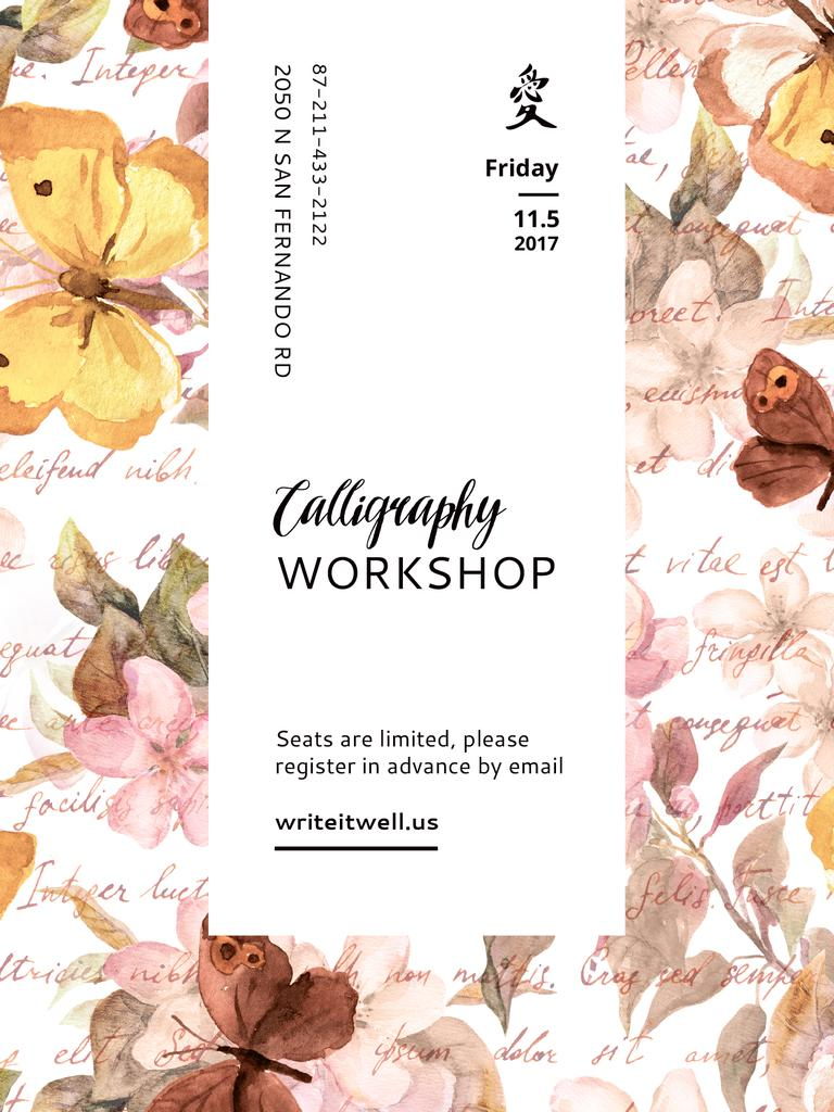 Calligraphy Workshop Announcement Watercolor Flowers — Créer un visuel