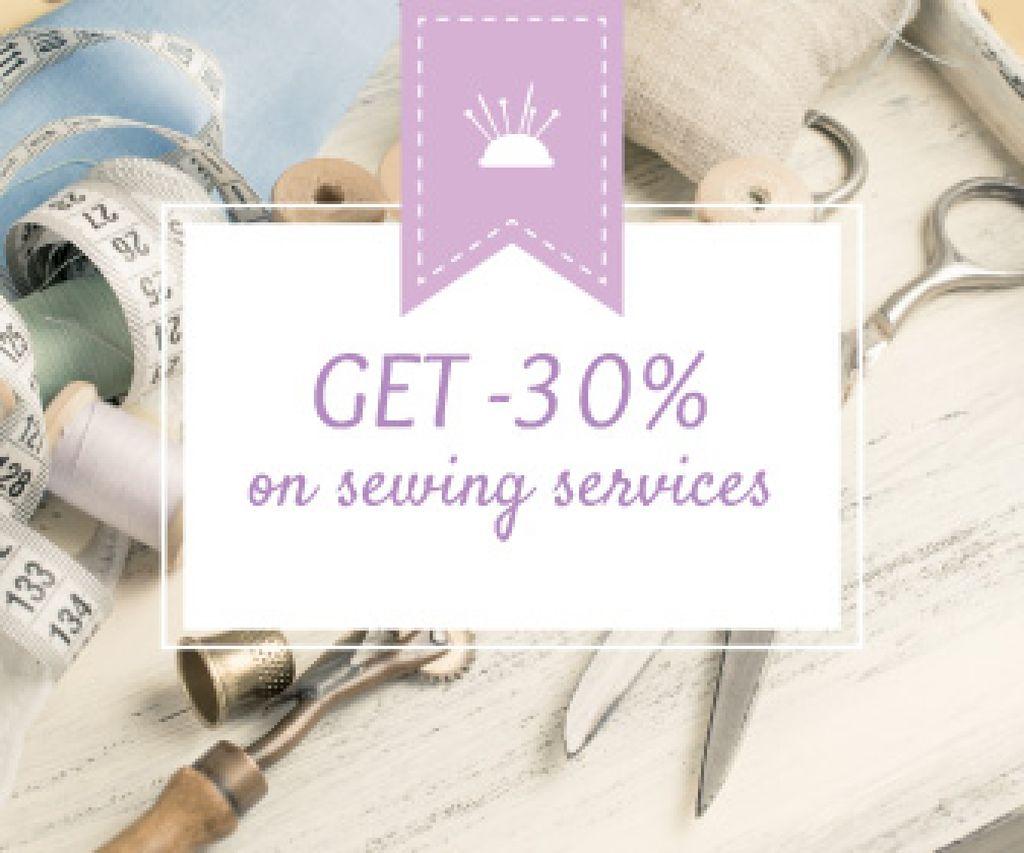 Ontwerpsjabloon van Large Rectangle van Sewing services sale