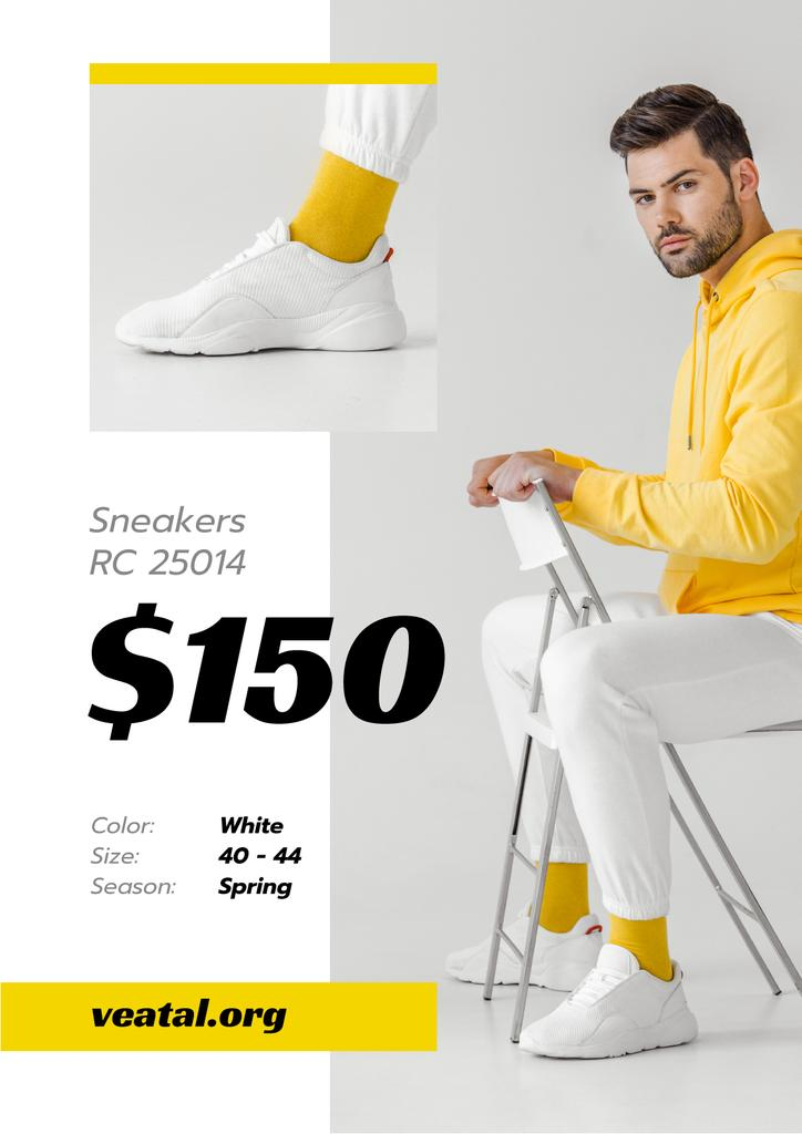 Sneakers Offer with Sportive Man in White Shoes — Створити дизайн