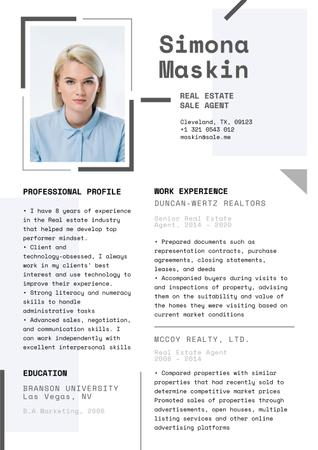 Modèle de visuel Real Estate skills and experience - Resume