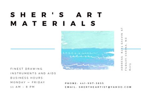 Art Material Store ad with Sea Landscape Postcard Modelo de Design