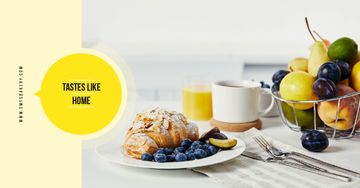 Cafe Promotion Croissant with Blueberries and Almonds | Facebook AD Template