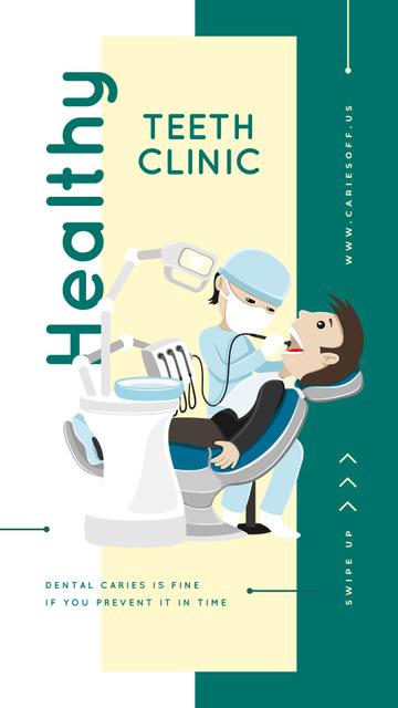 Patient at dentist's check-up Instagram Story Modelo de Design