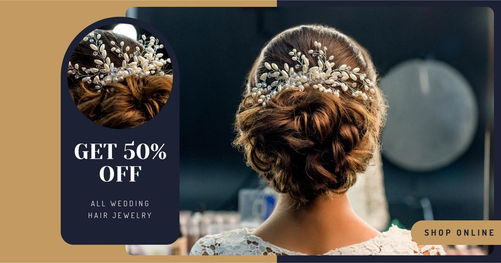 Ontwerpsjabloon van Facebook AD van Wedding Jewelry Offer Bride with Braided Hair