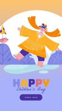 Children's Day Greeting Girl Dancing in the Rain