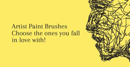 Ontwerpsjabloon van Facebook AD van Artist Paint Brushes Offer with Quote