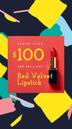 Plantilla de diseño de Special Offer with Red Velvet Lipstick Instagram Video Story