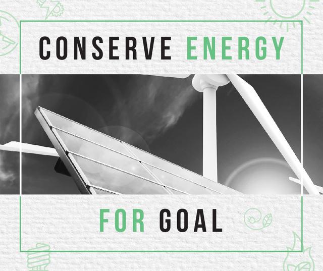 Szablon projektu Wind Turbines and Solar Panels Facebook