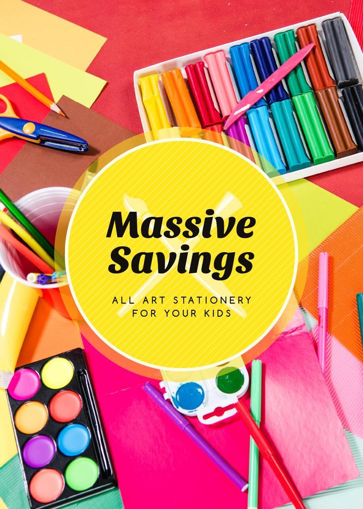 School Supplies Sale Colorful Stationery —デザインを作成する