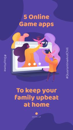 Ontwerpsjabloon van Instagram Story van #QuarantineAndChill Online Game apps Ad with Happy Family