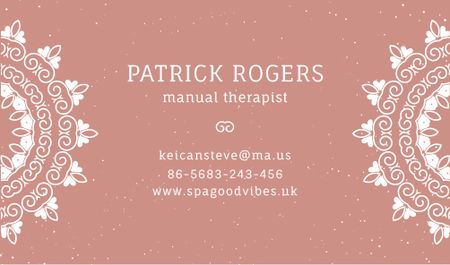 Plantilla de diseño de Manual Therapist Contacts Information Business card