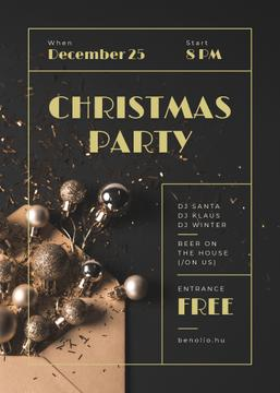 Christmas Party Invitation Shiny Golden Baubles | Flyer Template