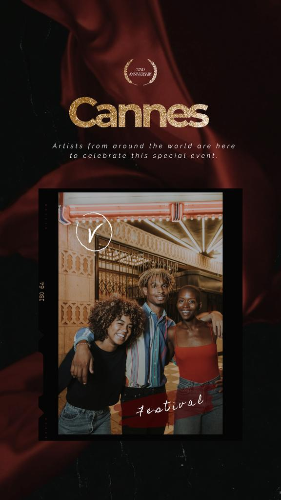 Cannes Festival Invitation Friends by Cinema | Vertical Video Template — Crear un diseño